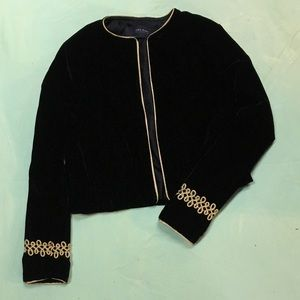 Zara Velvet Crop Military Jacket XS